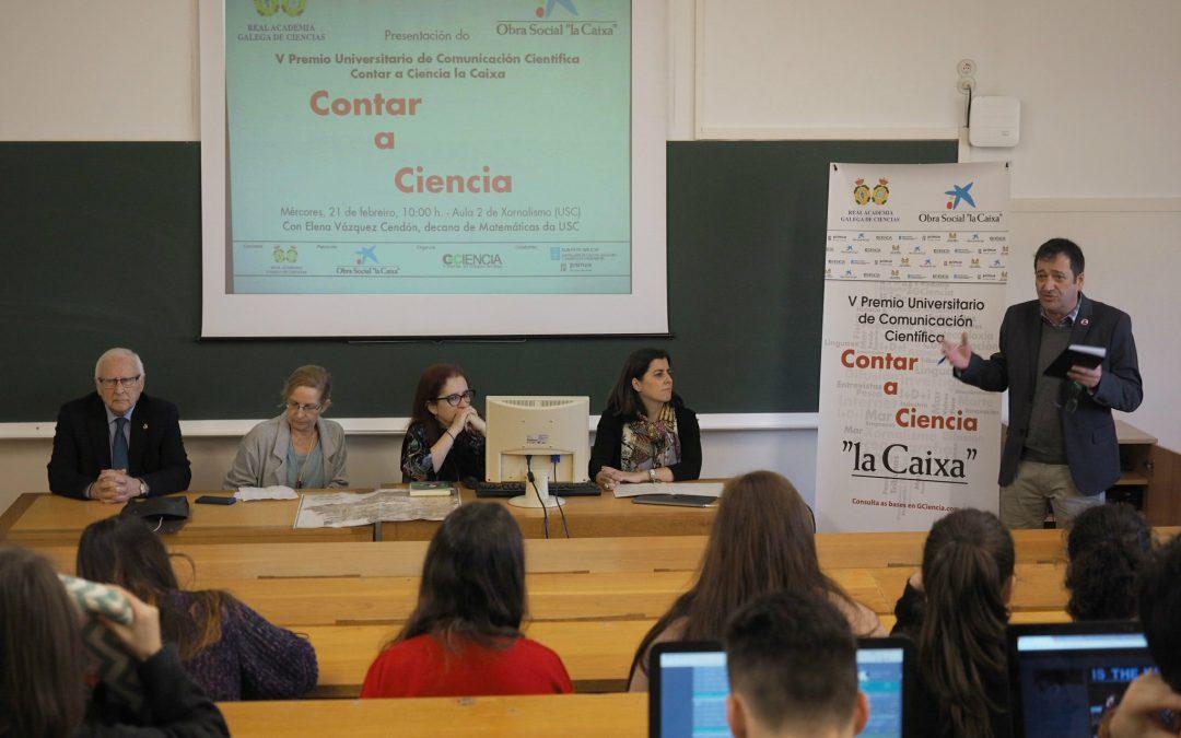 Una clase abierta de Elena Vázquez Cendón abre el V Premio Universitario de Periodismo Científico CONTAR A CIENCIA – «LA CAIXA»