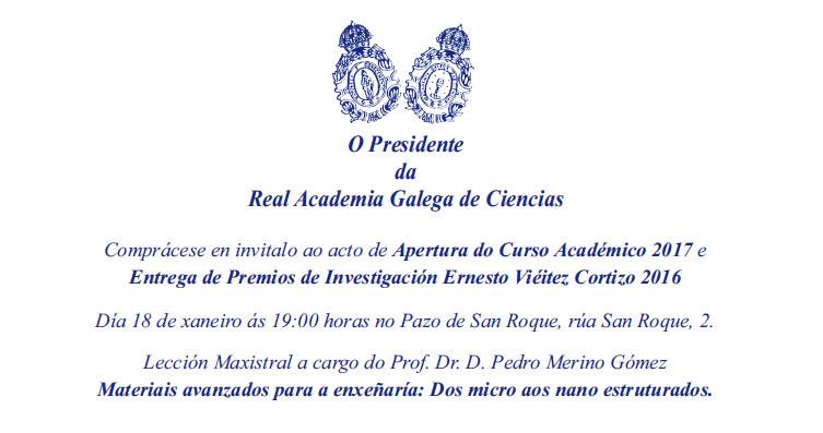 Apertura del curso 2017 y entrega de los Premios Ernesto Vieitez 2016 en la RAGC