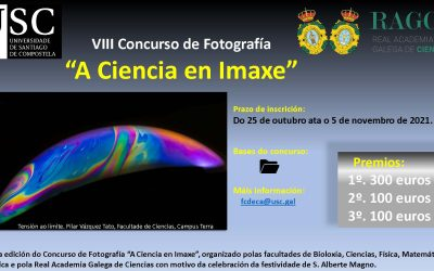 """A Real Academia Galega de Ciencias e as Facultades de Bioloxía, Ciencias, Física, Matemáticas e Química  da USC convocan o VIII Concurso de Fotografía """"A Ciencia en Imaxe"""""""